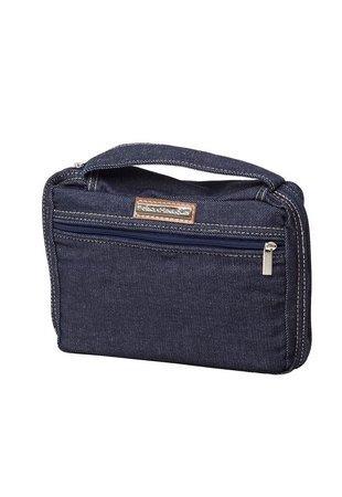 Bolsa Para Bíblia Jeans Azul Com Bolso Frontal Premium