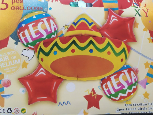 Set De Globos Fiesta Mexicana X 5