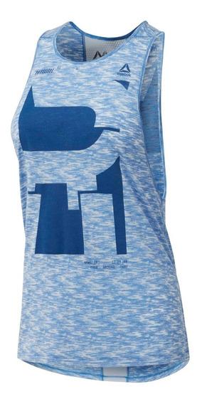 Reebok Musculosa Mujer Re Mesh Azul Melange