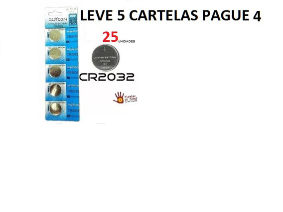 Bateria Cr2032 3v Lithium Kit 25 Unidades 05 Cartelas
