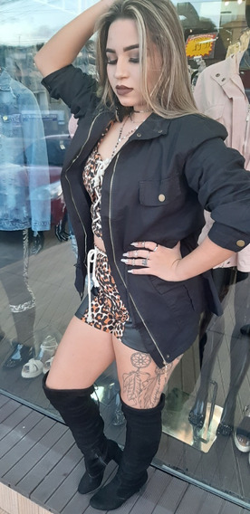 Jaqueta Parka Preta Sarja Jeans Feminina Blogueira