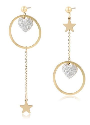 Imagen 1 de 8 de Aretes Estrella Corazon Swarovski Largos Dispar Oro 14k Lam