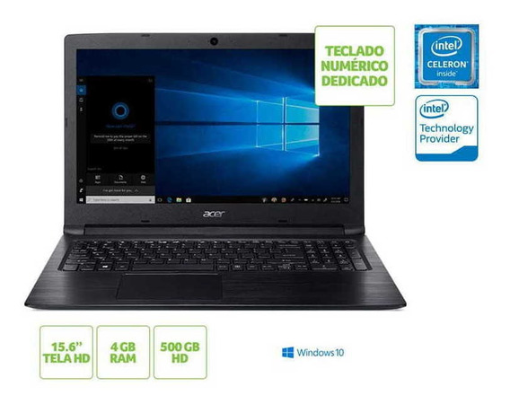 Notebook Acer A315-33-c39f Dual Core 4gb 500gb Win10 15.6 Nf