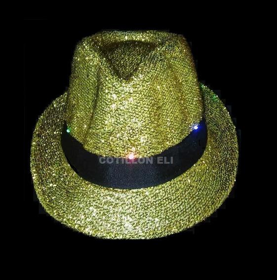 Sombrero Luminoso Led Funyi Tanguero Dorado Brillo Destacate