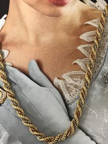 Lindo Colar Em Ouro Amarelo, Branco E Rosa, 40cm, 16,5gr