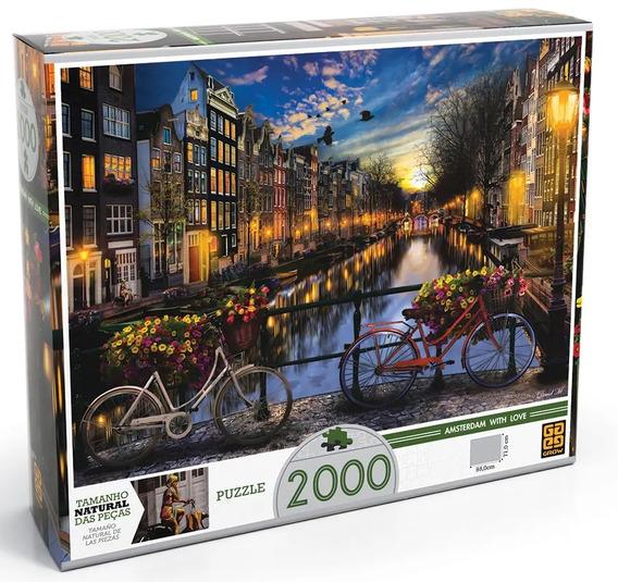 Puzzle Quebra Cabeça Verão Em Amsterdã 2000 Peças Grow