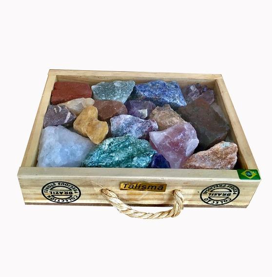 Pedras Semi Preciosas Brutas Em Caixa Talismã Para Coleção