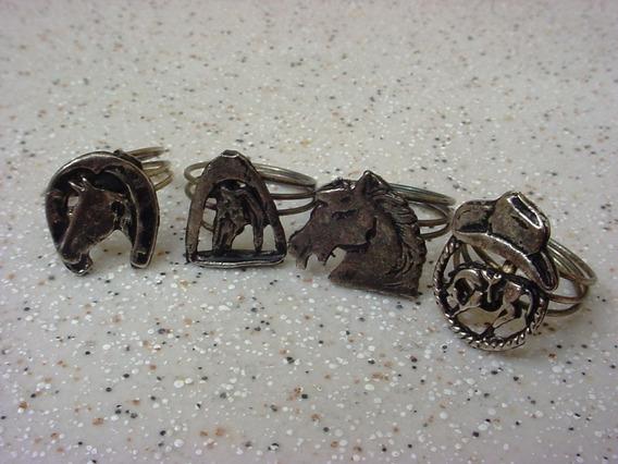 Antigo Coleção Quatro Anéis Metal Ferradura, Cavalo, Chapéu.