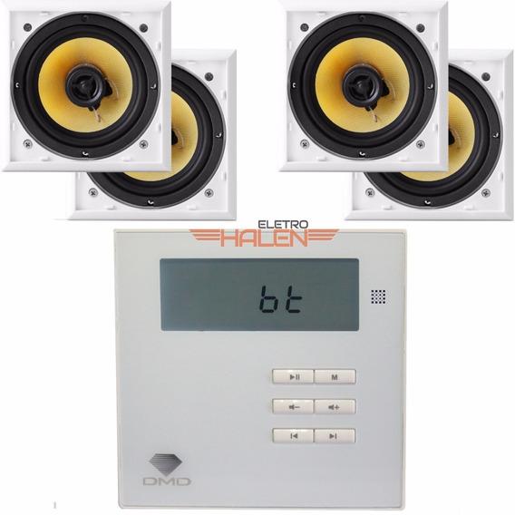 Kit Som Ambiente Amplificador De Parede Dm835 +4 Caixas Aat