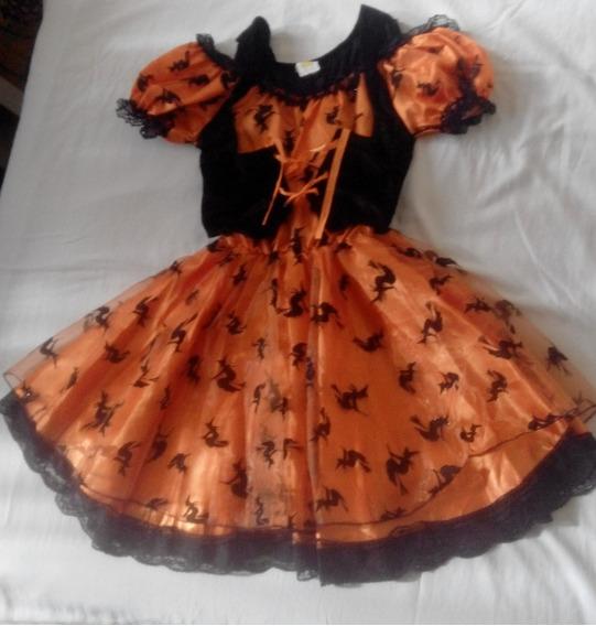 Vestido De Brujita Motivo Halloween Talla 10 Disfraz