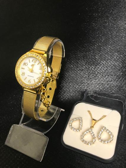Relógio Feminino Dourado + Brinde Conjunto Semijoia