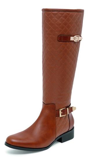 Bota Larga Alta De Dama Cafe,envio Gratis 04419 Zapato Mujer