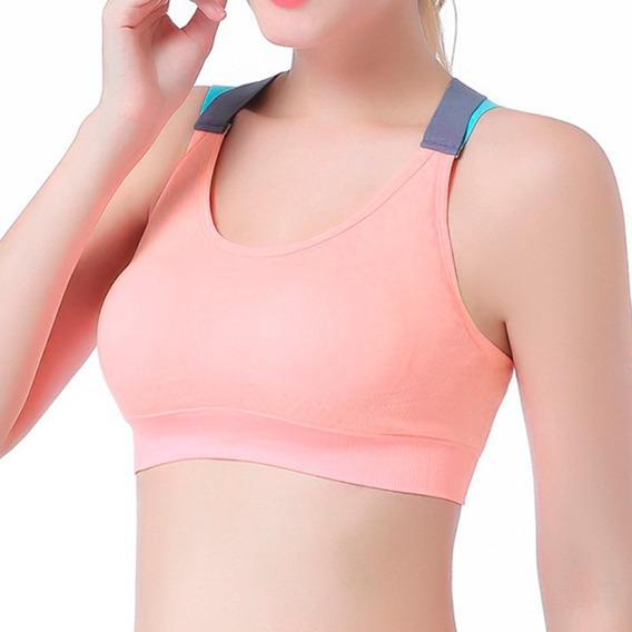 Bra Top Deportivo Fitness Yoga Tiras Cruzadas Rosa D1180