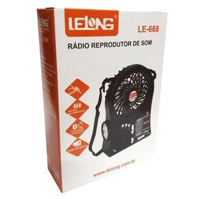 Rádio Portátil Am Fm Sw Usb Ventilador Lanterna Recarregável