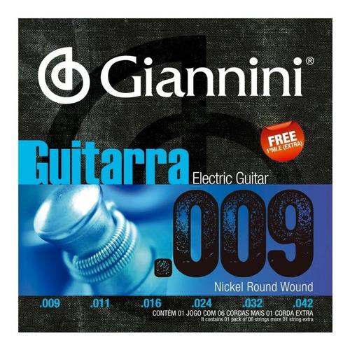 Imagem 1 de 3 de Encordoamento Giannini Geegst9  009 Para Guitarra