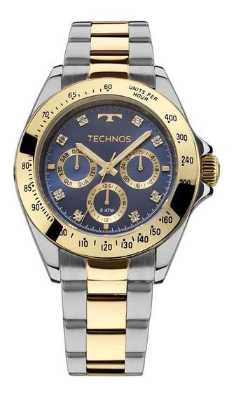 Relógio Technos Prata Com Dourado Feminino Elegance Ladies