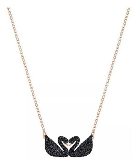 Colar Swarovski - Colar Duplo Iconic Swan, Preto
