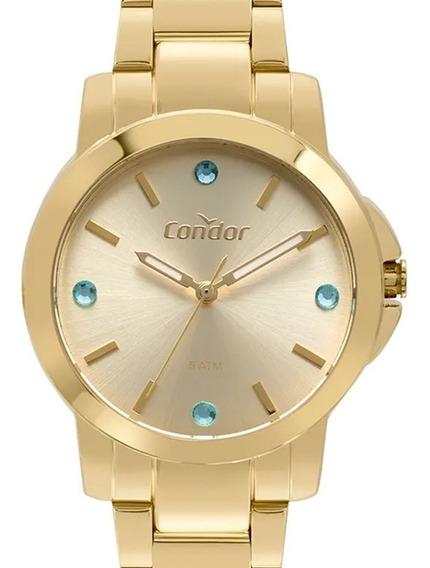 Relógio Condor Feminino Dourado Banhado Co2035eyf/k4d - Nf
