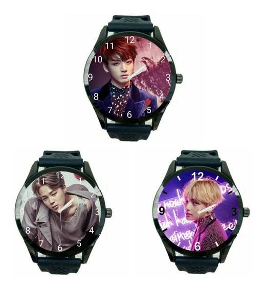 Kit 3 Relógios Bts Jungkook Jimin V Promoção Unissex Fc T746