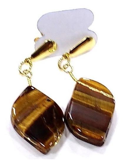 Brincos Pedra Olho De Tigre Natural 4cm Folheado A Ouro R486