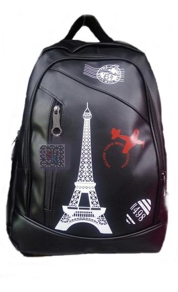 Mochila Feminina Preta Paris Torre Eiffel França Rock