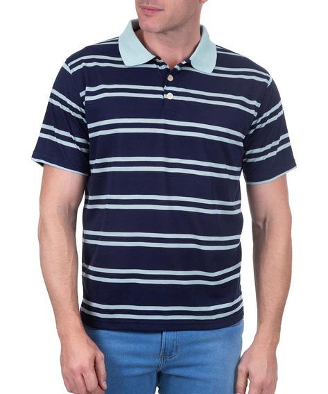 Polo Fio Tinto Azul Marinho/verde 49666 Colombo