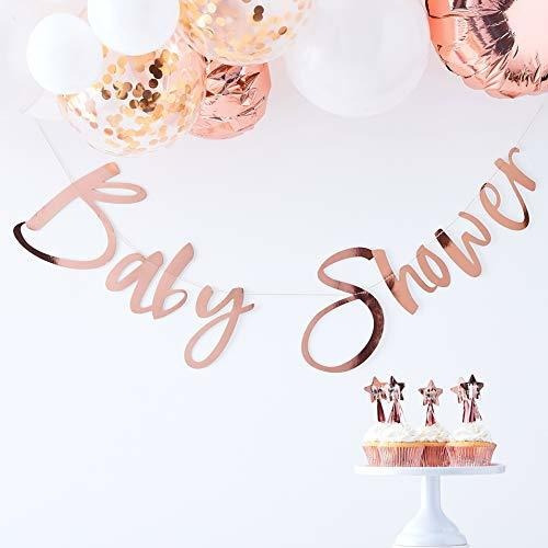Ginger Ray Rose Gold Baby Shower Bunting Fiesta Decoración B