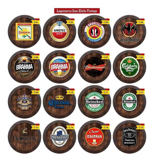 Quadros Decorativos Tampa De Barril Cerveja - Kit 6 Quadros