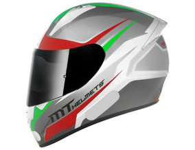 Capacete Mt Stinger Divided White-grey-green + Balaclava