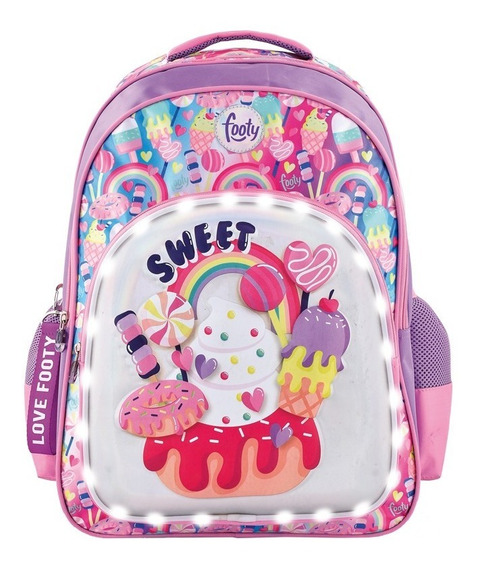 Mochila Footy Sweet Candy Con Luz Led 18
