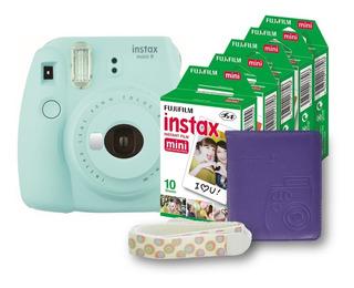 Paquete Instax Mini 9 Hielo+ Álbum + Correa + 50 Fotos