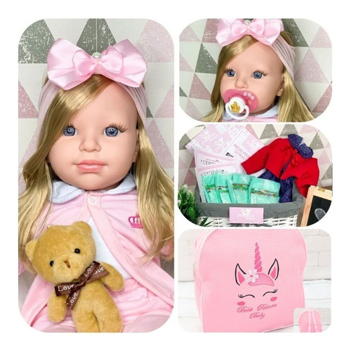 Boneca Bebê Reborn Com Mochilinha E Acessórios