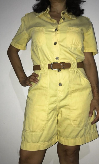 Mono Enterito Mameluco Corto Vintage Amarillo Moda