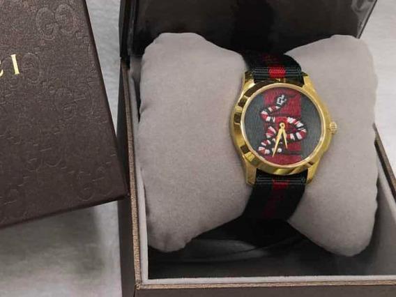 Relógio Cobra Com Dourado Original