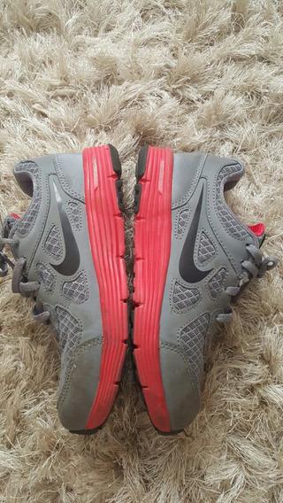 Tênis Infantil Nike 21cms 2y Cinza Vermelho Unisex Bem Novo