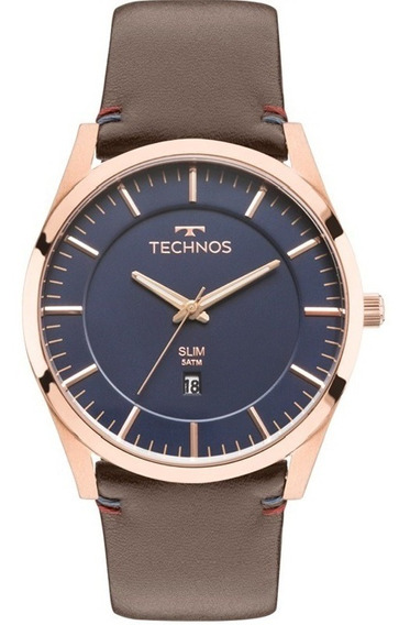 Relógio Technos Masculino Slim Gm10yh/2a Rose Azul Couro