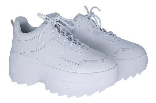 Tenis Sneaker Feminino Branco Solado Alto Super Moderno!