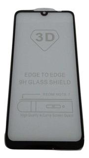 Película De Vidro 3d Xiaomi Redmi Note 7 Preta Sem Juros