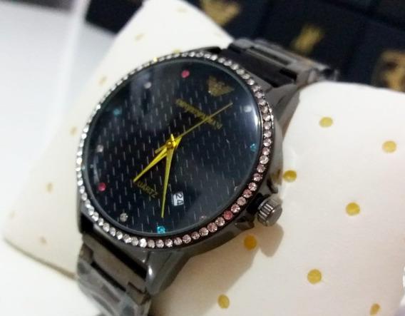 Relógio Feminino E.a. Lindo Preto Com Pedraria