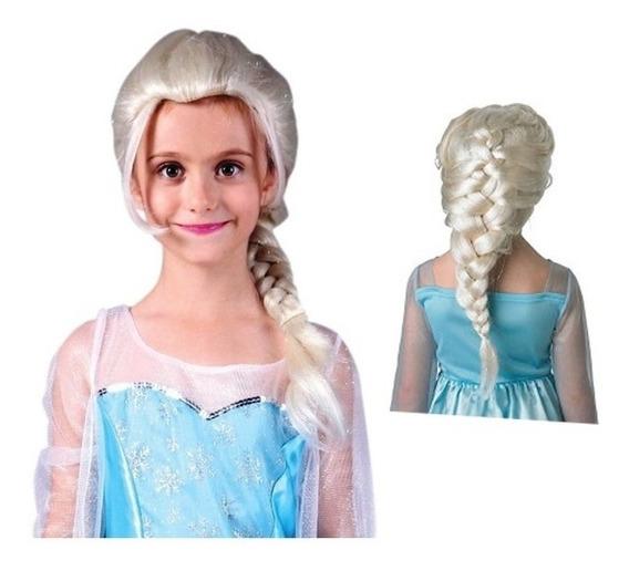 Peluca Elsa Frozen Talle Niña - Princesa Elsa Trenza Disfraz