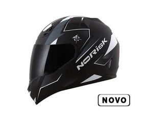 Capacete Norisk Ff391 Stripes Preto Fosco/ Branco