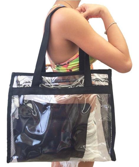 Bolsa De Praia Grande Transparente Ombro Promoção + Brindes