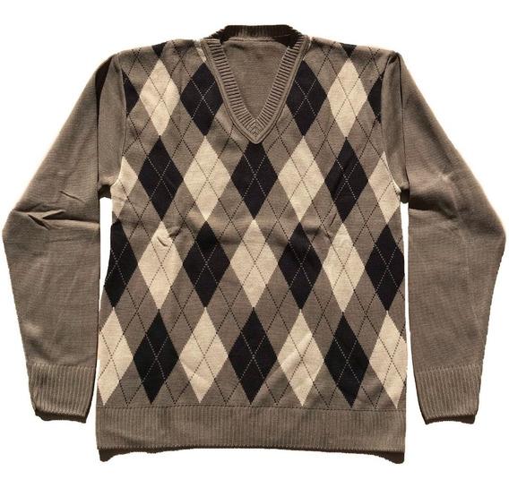 Blusa Masculina Lã V Trico Homem Escocês Frio Frete Grátis