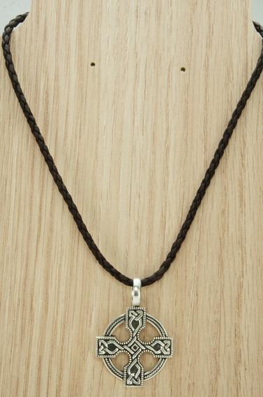 Colar Couro Cruz Mandala Bali Especial (l16,4) Prata 925