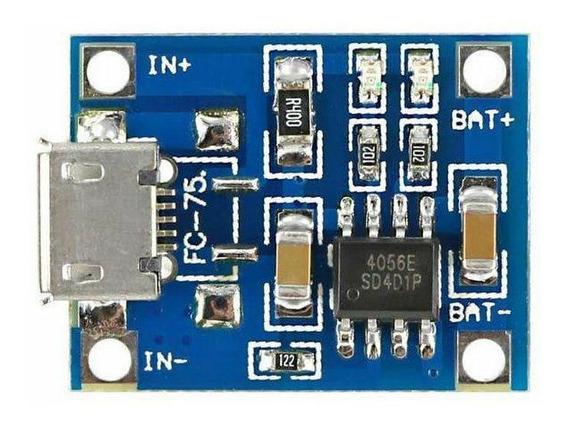 Carregador Bateria Tp4056 3,7v 4,2v 1a Módulo Micro Usb