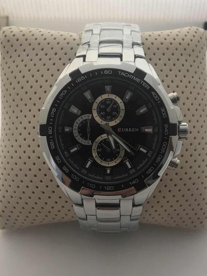 Relógio De Luxo Curren Prata Pronta Entrega