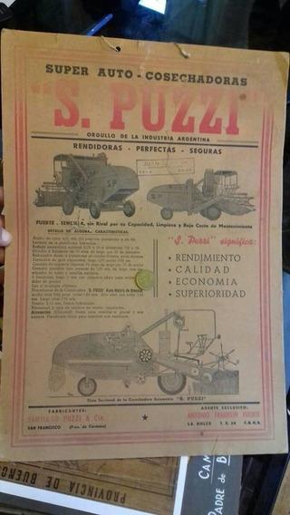 Afiche Antiguo Carton Cosechadora S Puzzi Cordoba