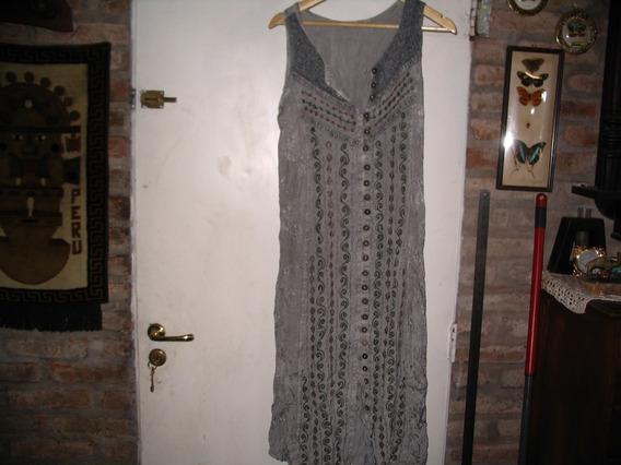 Vestido Hindu Rayon Importado Gris Claro Abotonado Bordado