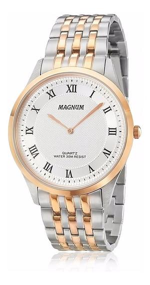 Relógio Magnum Masculino Slim Ma21919m Rosê Aço Analogico