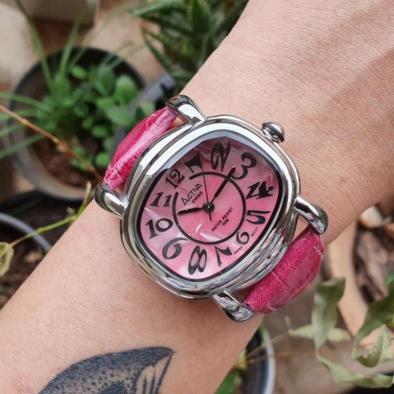 Relógio Feminino Activa Madrepérola Rosa Swiss Movt